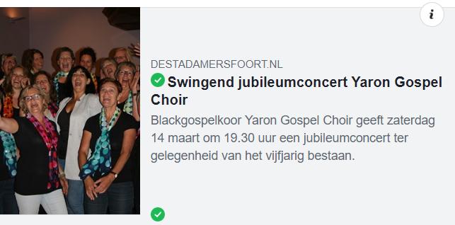In het nieuws: Swingend jubileumconcert Yaron Gospel Choir